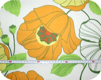 Floral retro vintage fabric with poppies - orange, yellow, green and red