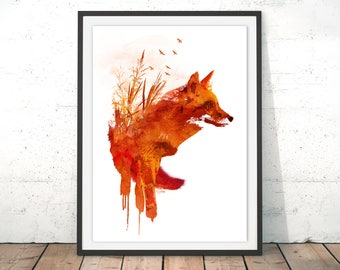 Wild Fox Artwork Print, Red Fox Field Art Print, Fox Painting, Fox Illustrator, Home Fox Poster Wall Hanging by Robert Farkas