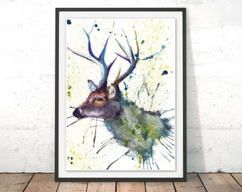 Stag Art Print, Stag Illustration, Stag Painting, Deer Framed Print, Stag Wall Art, Scotland Deer Print Stag Gift Watercolour Stag Print