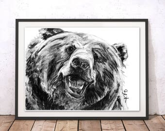 Bear Art Print Grizzly Bear Wall Art Bear Charcoal Illustration Bear Print Bear Gift for Home Bear Wall Hanging Art Decor by Bex