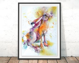 Hare Print, Watercolour Hare Wall Art with Frame, Rabbit Art Print, Hare Illustration, Colorful Animal Poster, Wall Hanging by Liz Chaderton