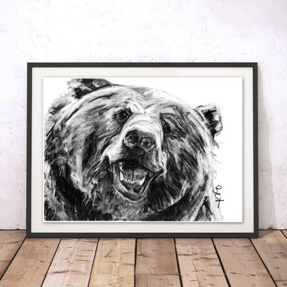 Bear Art Print Grizzly Bear Wall Art Bear Charcoal