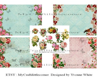 Flowers & Butterlies journal kit DIGITAL kit INSTAND DOWNLOAD