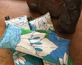 ONE Lavender Eye Pillow handmade from Vintage 60's cotton linen blend fabric for yoga & relaxation blue floral print.