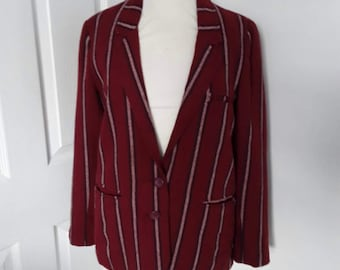Vintage 60s 70s Jacket / Mod Striped Blazer /  70s fashion / Indie Jacket / Vintage Boating Blazer / Made in England / Size Small