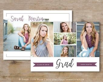 Senior Graduation Announcement  Template - Senior Grad Card Template - Photoshop Template for Photographers - Senior Photographer Marketing