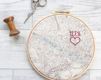 """Cotton anniversary gift: Vintage map in 7"""" wooden hoop and embroidered with heart or house and date"""