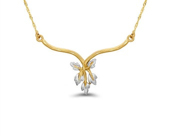 14k two tone solid gold leaf necklace. leaf jewelry. floral jewelry