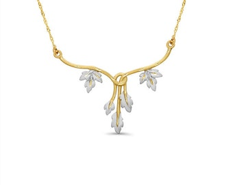 14k solid gold two tone leaf necklace. leaf jewelry