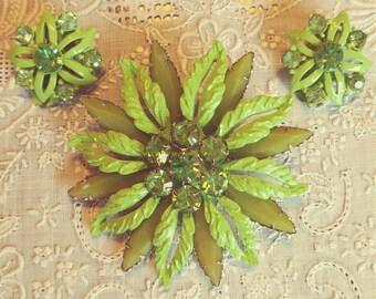 Green Enamel Rhinestone Brooch with Earrings