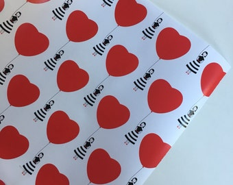 Heart Wrapping Paper 30 inches x 10 feet, Valentine Wrapping Paper, Heart Gift Wrap, Valentine Gift Wrap, Wrapping Paper