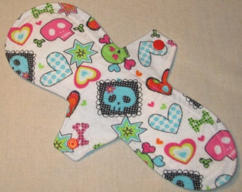 Colorful Skulls flannel topped 10.5 in. Moderate Cloth Pad