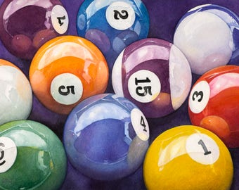 Pool Balls, Billiard Balls - watercolor painting - original