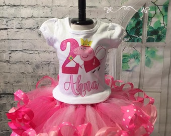 Peppa Pig birthday, Peppa Pig birthday shirt, Peppa Pig Birthday outfit, Peppa Pig Party, Peppa Pig shirt, Fairy peppa pig, pink tutu