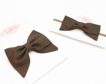 baby headband, brown bow headband, newborn headband, girls headband, baby bow headband, headbands and bows, headbands for baby - CHOCOLATE
