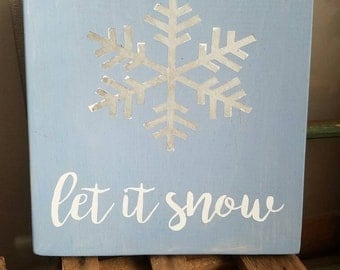 Let it snow snowflake wall art
