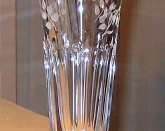 "Signed Varga Art Crystal Springtime 12"" Tulip Vase Hand Cut in Hungary (D)"