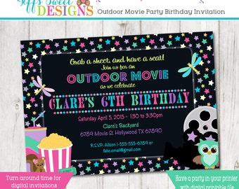 Under the Stars Outdoor Movie Party - Girl Movie Birthday Party Invitation - Movie Night