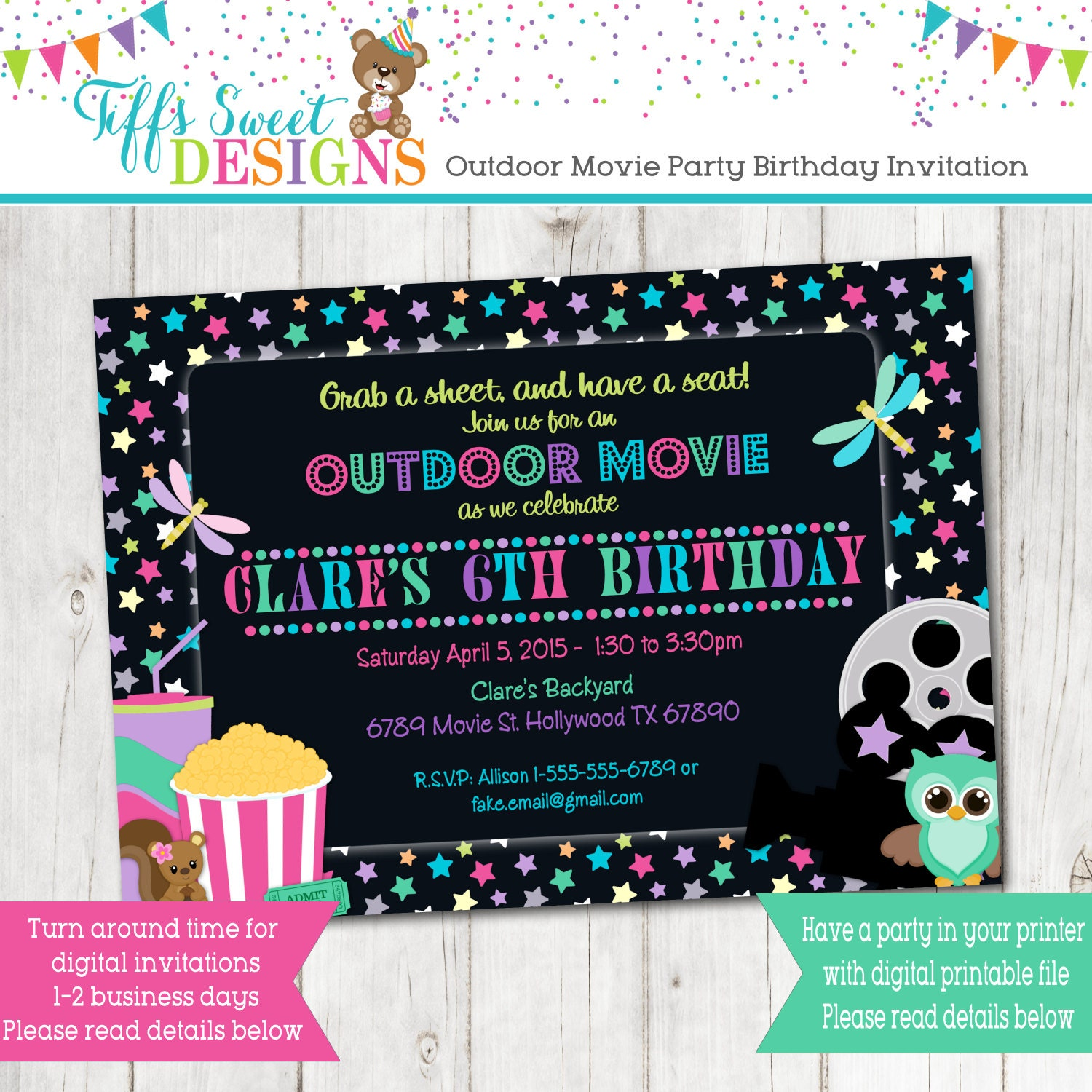 Under the Stars Outdoor Movie Party Girl Movie Birthday – Movie Night Birthday Party Invitations