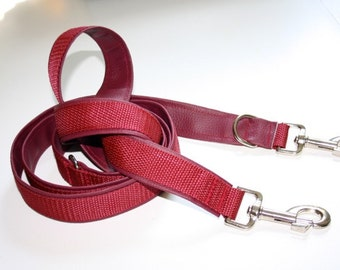 Dog leash adjustable upholstered with artificial leather 1, 5 m bordeaux