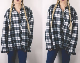50% OFF CLEARANCE Vintage Fleece Plaid Grunge Button Up Retro Slouchy Oversized Plaid Flannel Shirt -S15
