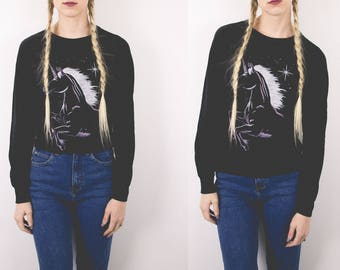 50% OFF CLEARANCE Vintage DEADSTOCK Unicorn 80s Dolman Top Long Sleeve Graphic Tee Small T shirt