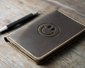 Happy Face Leather Journal Notebook Personalized Leather Journal Leather Notebook #072