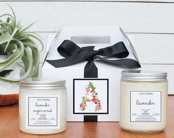 Monogram Candle and Sugar Scrub Gift Set | Girl Friend Birthday Gift | Best Friend Birthday Gift | Sister Gift | Gift for her