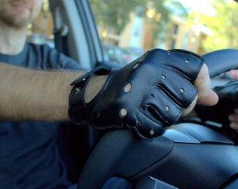 Father's Day Gift/Driving gloves for men / Leather gloves /Leather driving gloves/ Fingerless Driving Gloves /Leather mittens / Gift for Him