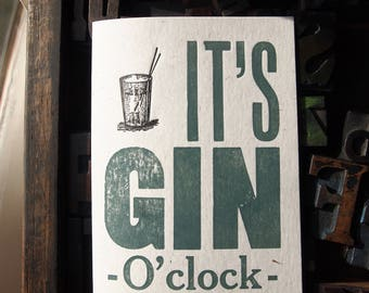 Gin O'Clock letterpress greeting card