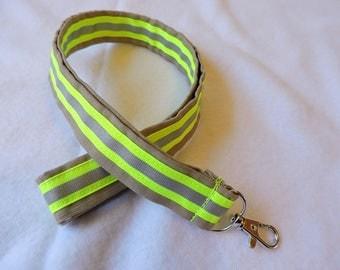 Firefighter Lanyard ID badge Holder, key chain , Optional personalization, tan, key chain