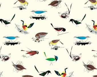 Pre-Sale- Western Birds- Organic Cotton Fabric - Charley Harper Western Birds for Birch Fabrics