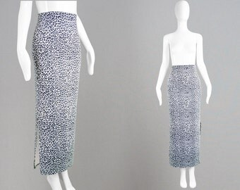 Vintage 90s Maxi Skirt White Leopard Print Long Bodycon Skirt Animal Print Stretchy Skirt Cheetah Print Club Kid Skirt Fitted Rave Wear