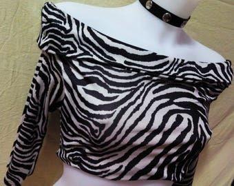 crop top 80's Zebra half sleeve glam rock