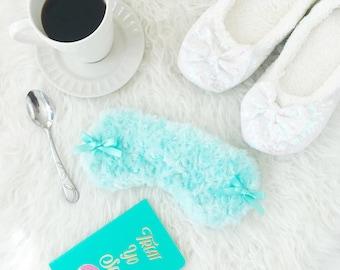 Something Blue, Bride to be. fluffy eyemask, sleepmask, spamask, brides gift