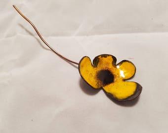 Yellow flower cloak pin
