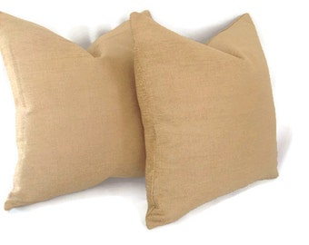 Set of 2: Textured Golden Tan Chenille Pillow Cover
