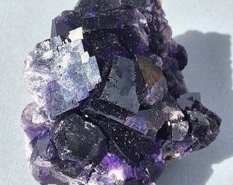 Fluorite-Deep Purple-210g-Color Zoned-Cubic Isometric-Natural Large Crystal Cluster Rocks and Minerals Mineral Specimen Mexico