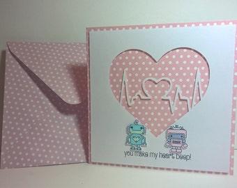 Cute Robots in Love Card
