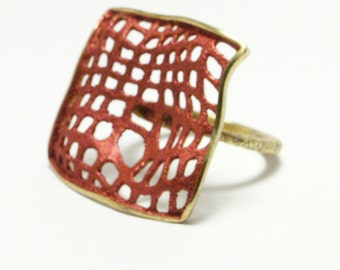 Sterling Silver  Ring, Geometrical Ring, Silver Grid Ring, Matt Enamel Ring, Geometrical Manifold Ring, Gift For Her Ring