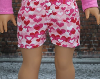 Girl Doll Clothes   American Made Trendy Heart Print SHORTS for 18 Inch Doll such as American Girl Doll