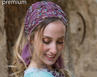 Brilliant Violet Headband, Amazing Bandana, Tichel, Hair Snood, Head Scarf, Head Covering, Jewish Headcovering, Scarf, Bandana, Apron