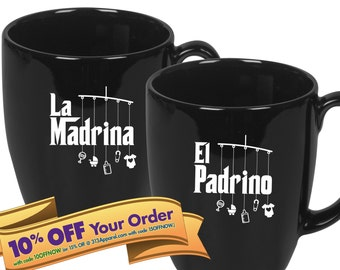 padrino and madrina coffee mugs   |   double-sided logo   |   14 ounce   |   micro & diswasher safe