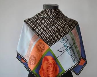 Vintage PRINTED SILK SCARF , hand rolled silk scarf..........(322)