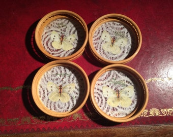 Vintage real butterfly bamboo and glass coasters set of 4 1970s tea dining kitchenalia