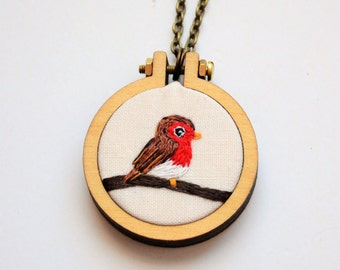 Robin Miniature Embroidery Hoop Necklace or Brooch Tiny 4cm Hoop Art