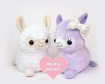 "PDF sewing pattern - Alpaca Llama stuffed animal - kawaii plush anime soft toy plushie DIY 12"""