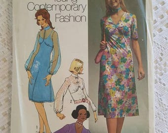 Vintage Retro 70s Misses Dress in two lengths and Blouse Sewing Pattern Simplicity 9307 Size 14 Cut, Counted, Complete
