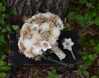 Wedding Bouquet Rustic Bouquet Woodland Bouquet Burlap Bouquet Sola Bouquet Ivory Bouquet Rustic Bouquet Daisy Bouquet Sola