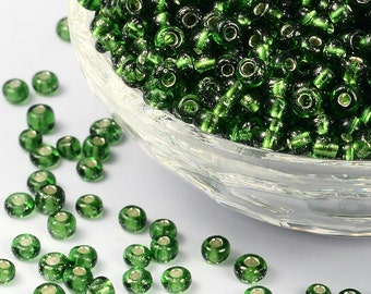 6/0 Green Silver Lined Seed Beads